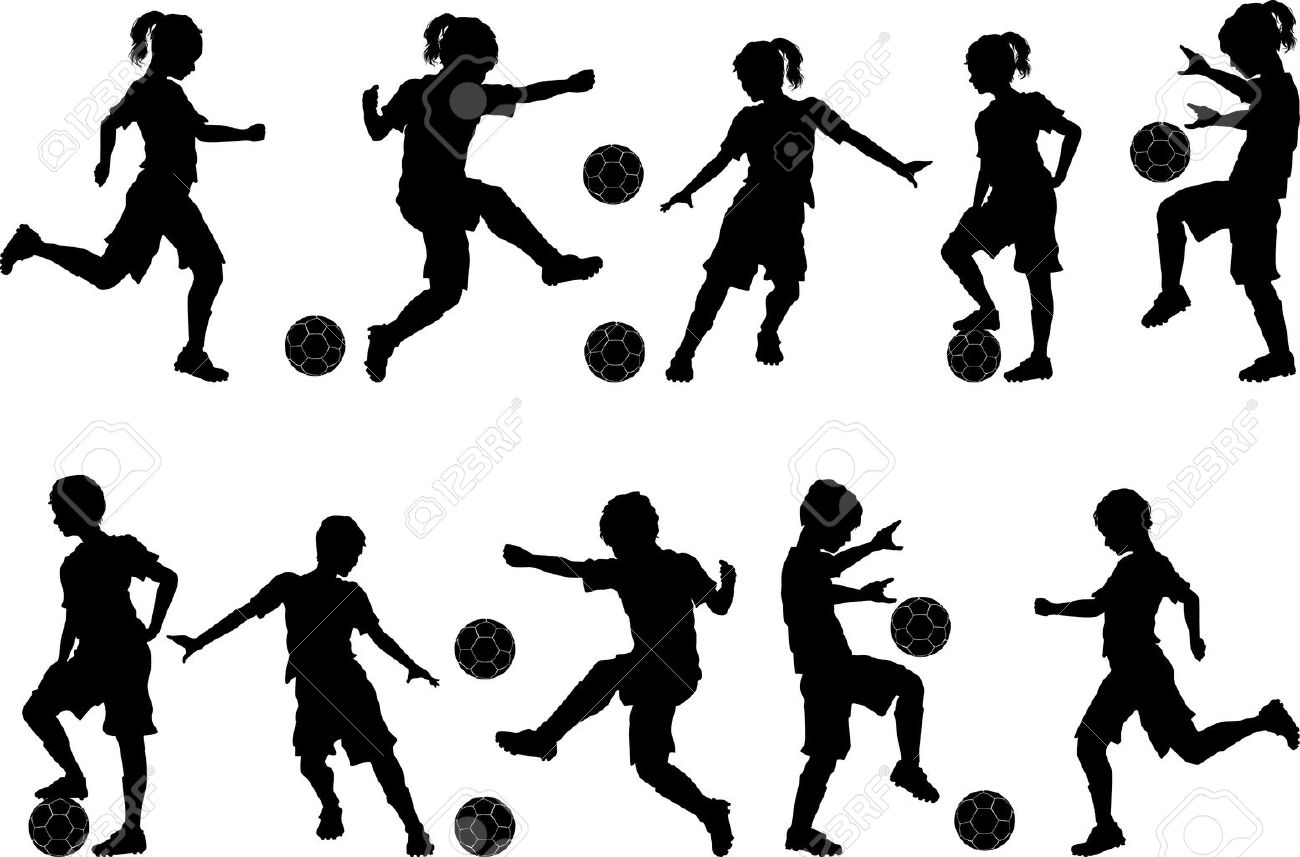 Soccer Players Silhouettes of Kids - Boys and Girls - 12805179