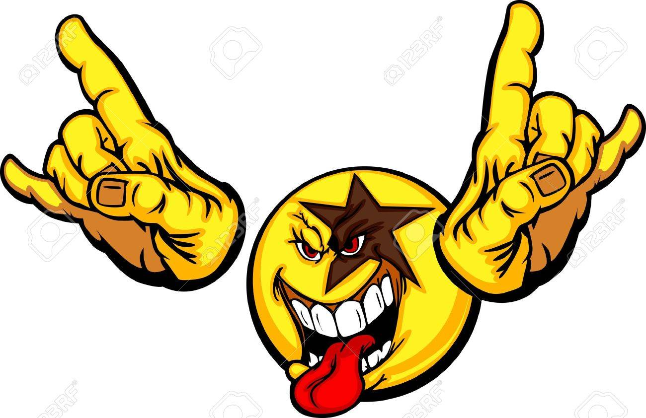 Cartoon Emoticon Yellow Face Rocking with Tongue Out and Hands in Rocker Pose Stock Vector - 12805174