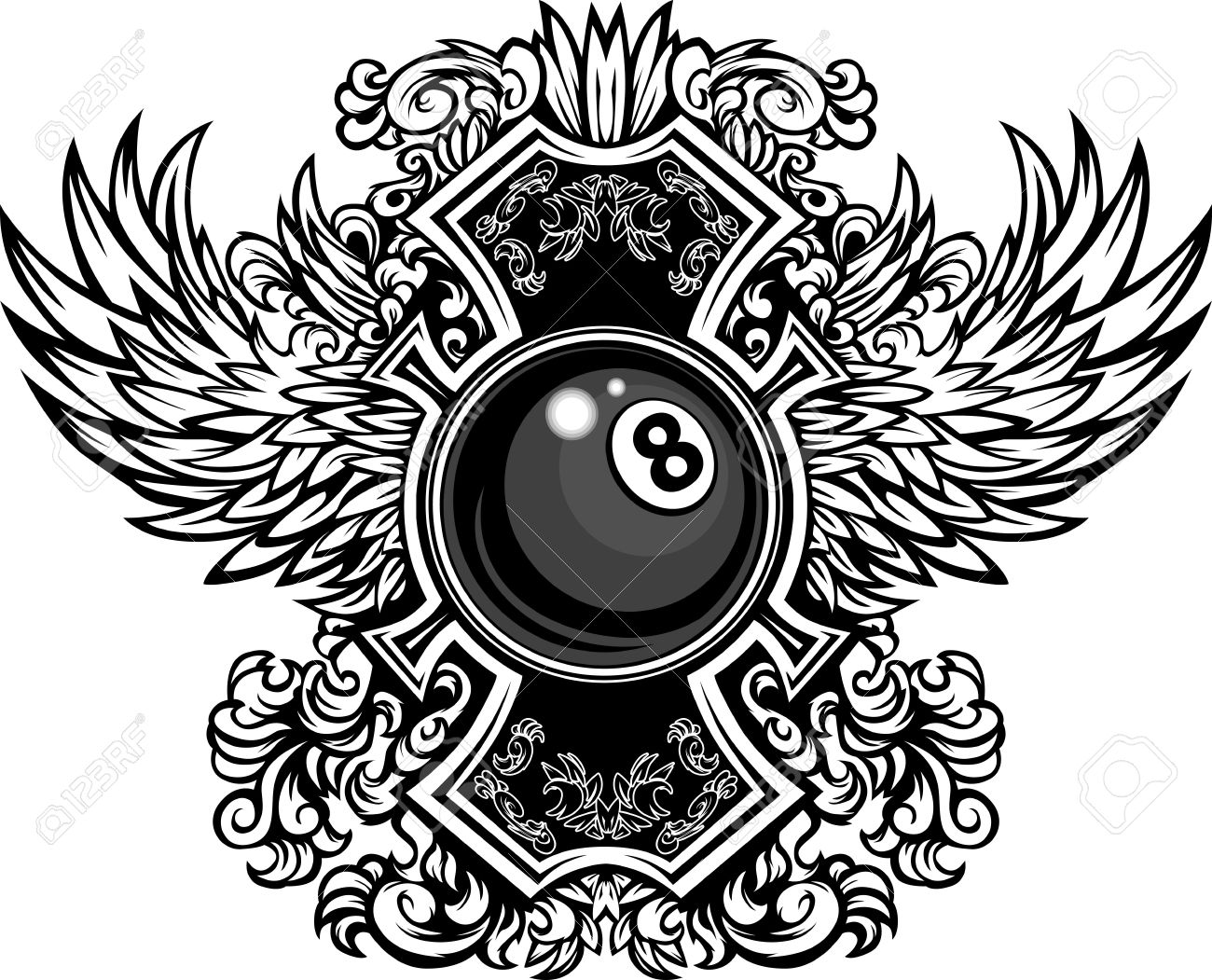 Billiards or Pool Eight Ball with Ornate Wing Borders Vector Graphic Stock Vector - 12805194