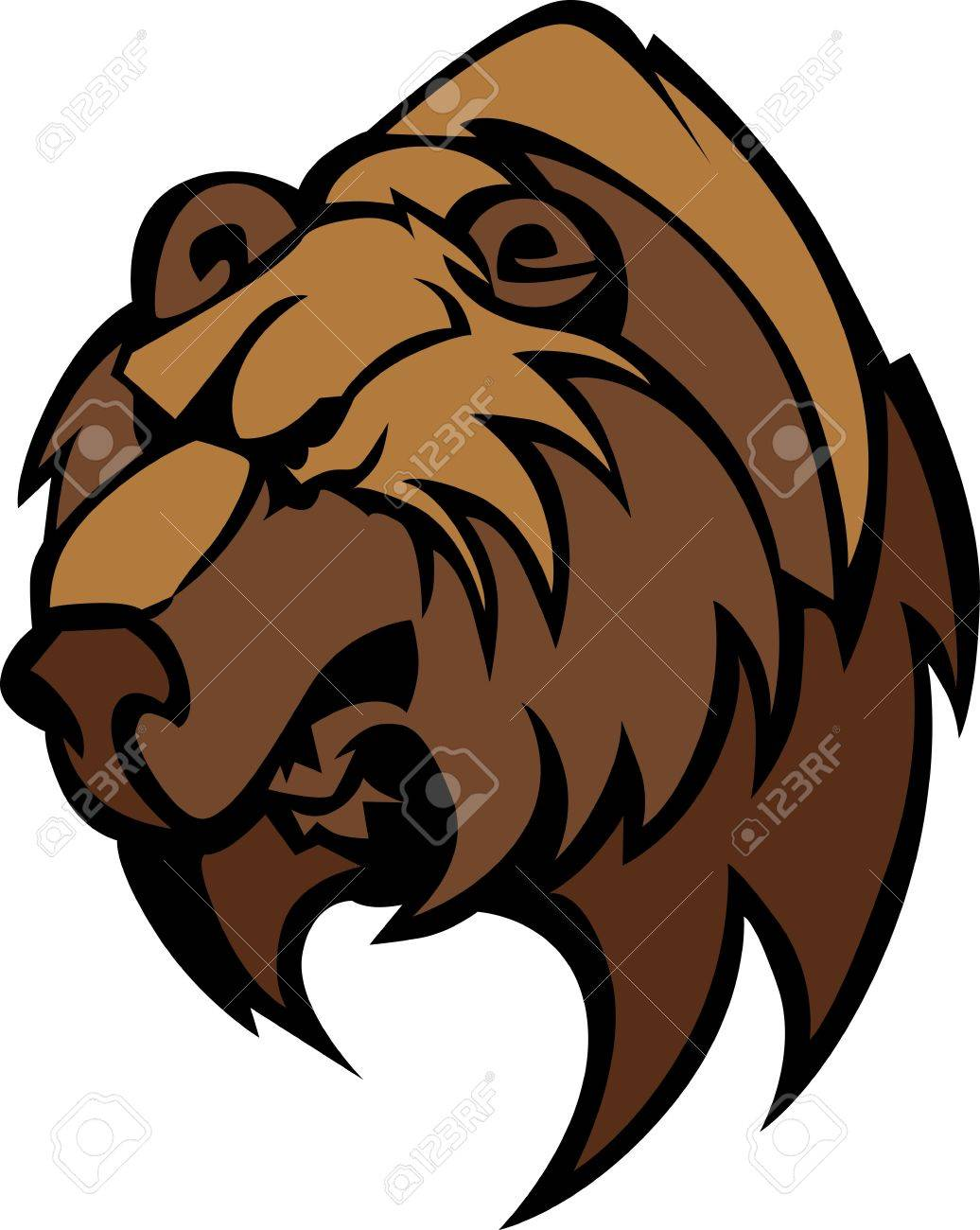 Cartoon Vector Mascot Image of a Black Bear Head Stock Vector - 12805196