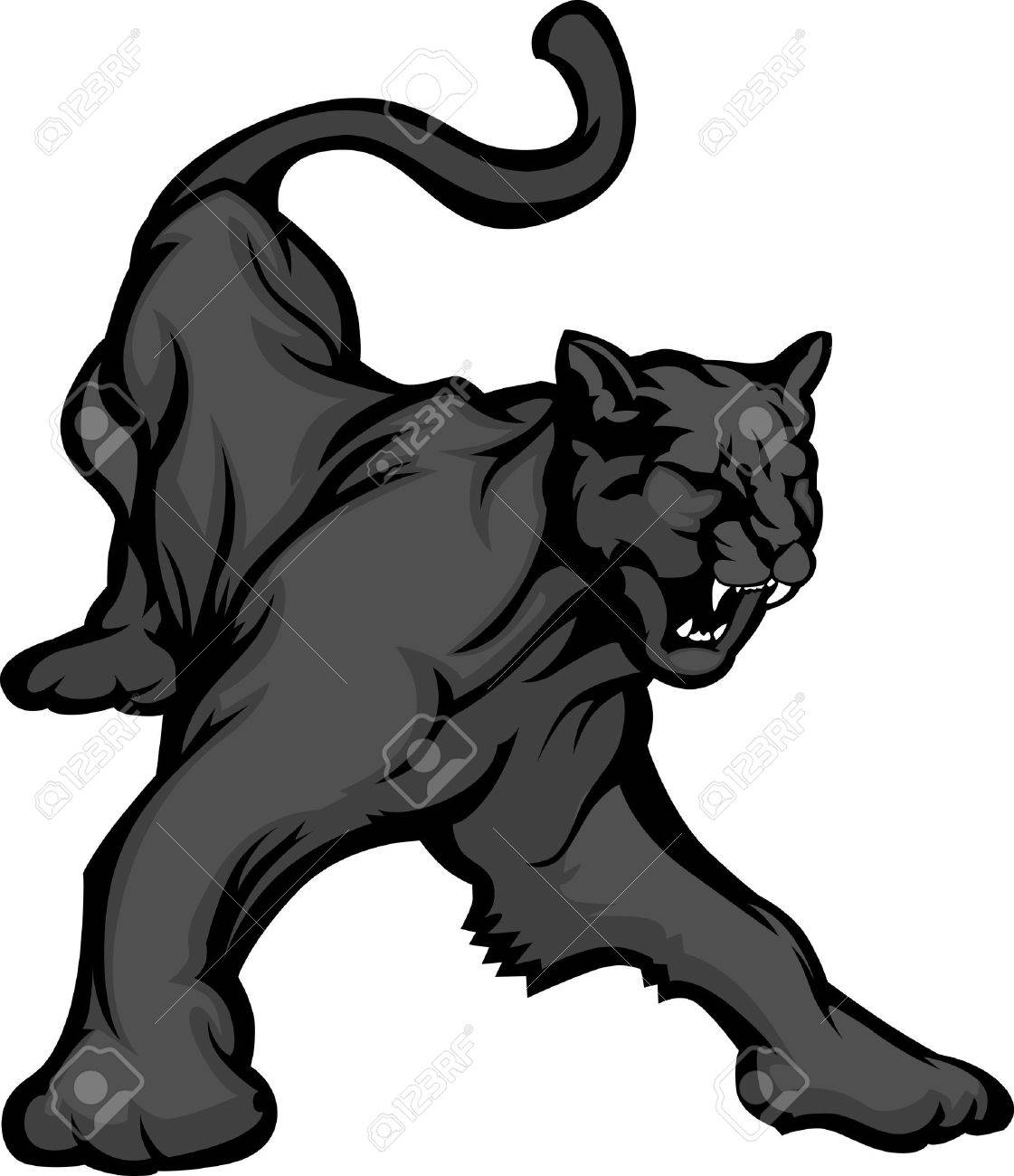 graphic mascot vector image of a black panther growling royalty free rh 123rf com Cute Panther Clip Art Panther Silhouette Clip Art