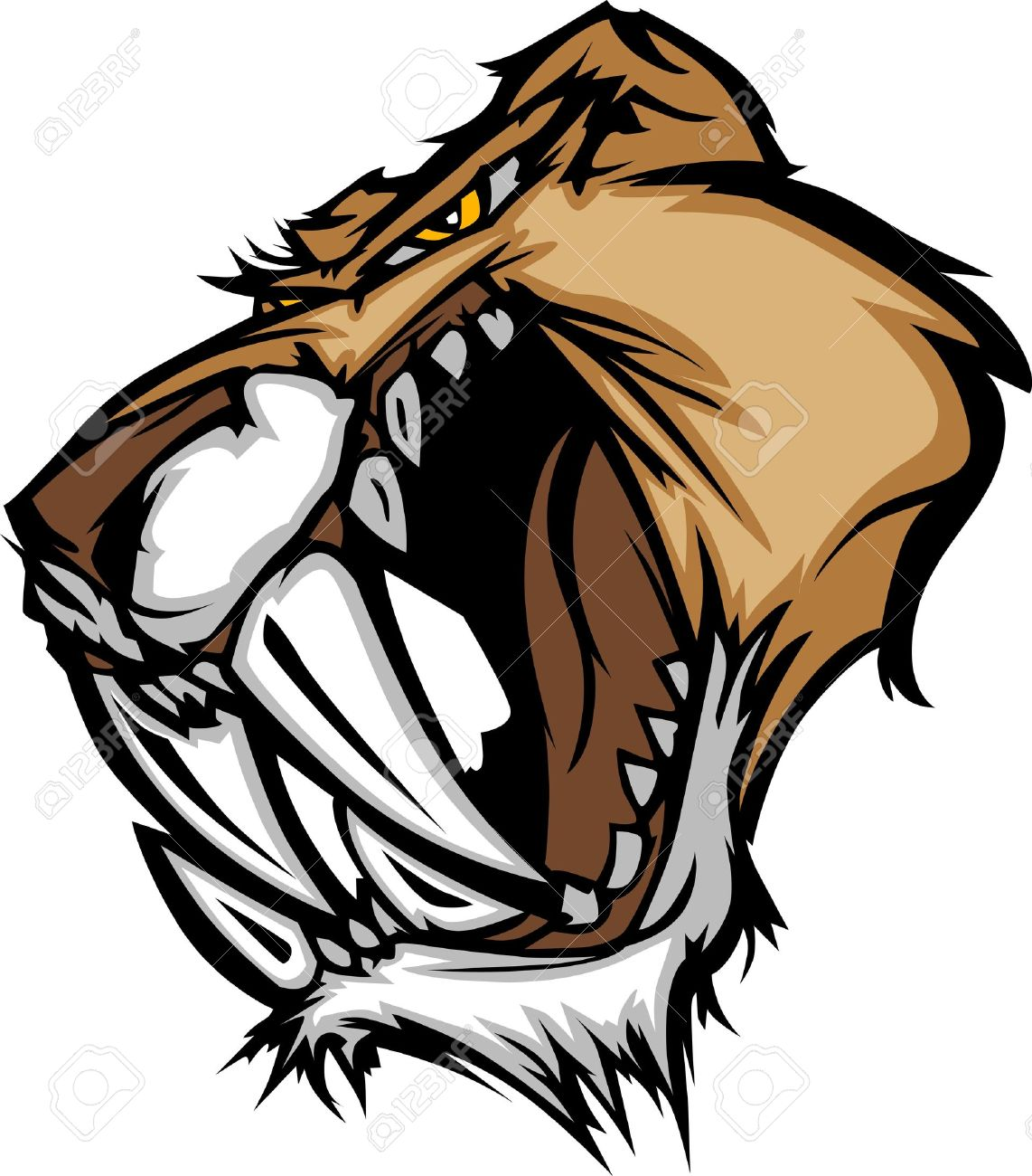 graphic vector mascot image of a saber cat cougar head royalty free rh 123rf com cougar clip art templates cougar clipart for schools