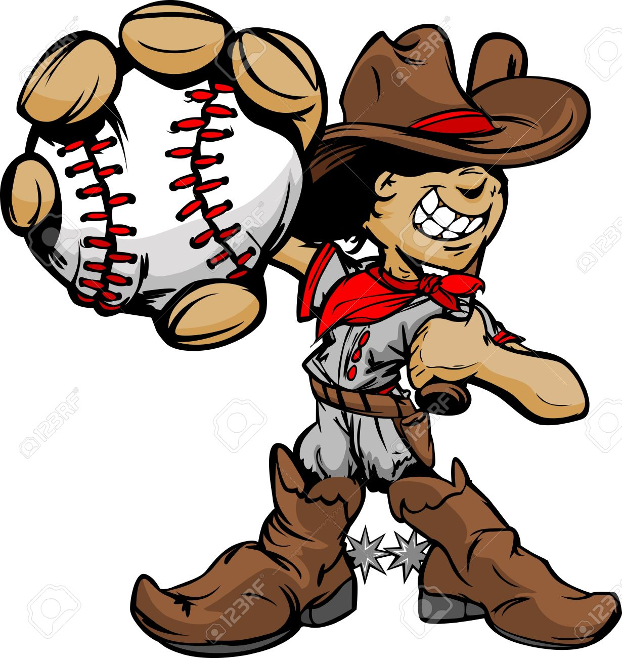 Baseball Cartoon Boy Cowboy Holding Bat Illustration Stock Vector - 12982416