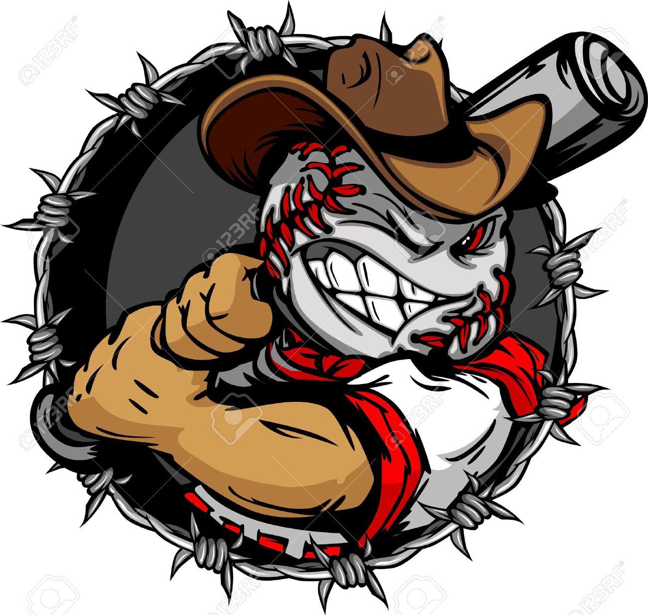 baseball face cartoon cowboy illustration royalty free cliparts