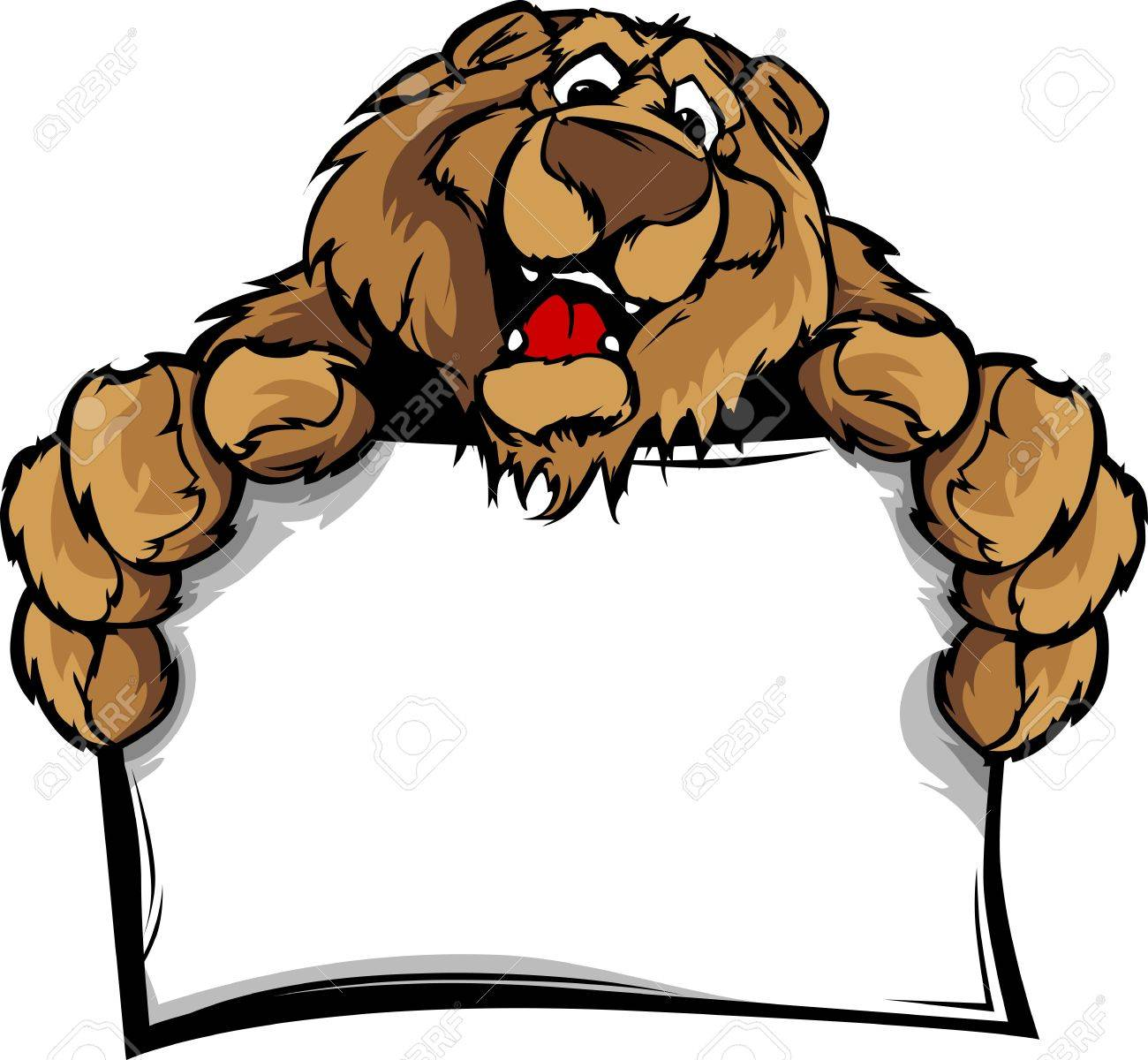 Bear Head Smiling Mascot  Holding Sign Illustration Stock Vector - 13057952