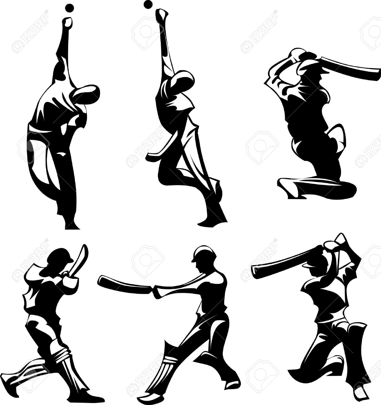 Bowling Cricket Drawing Images of Cricket Players