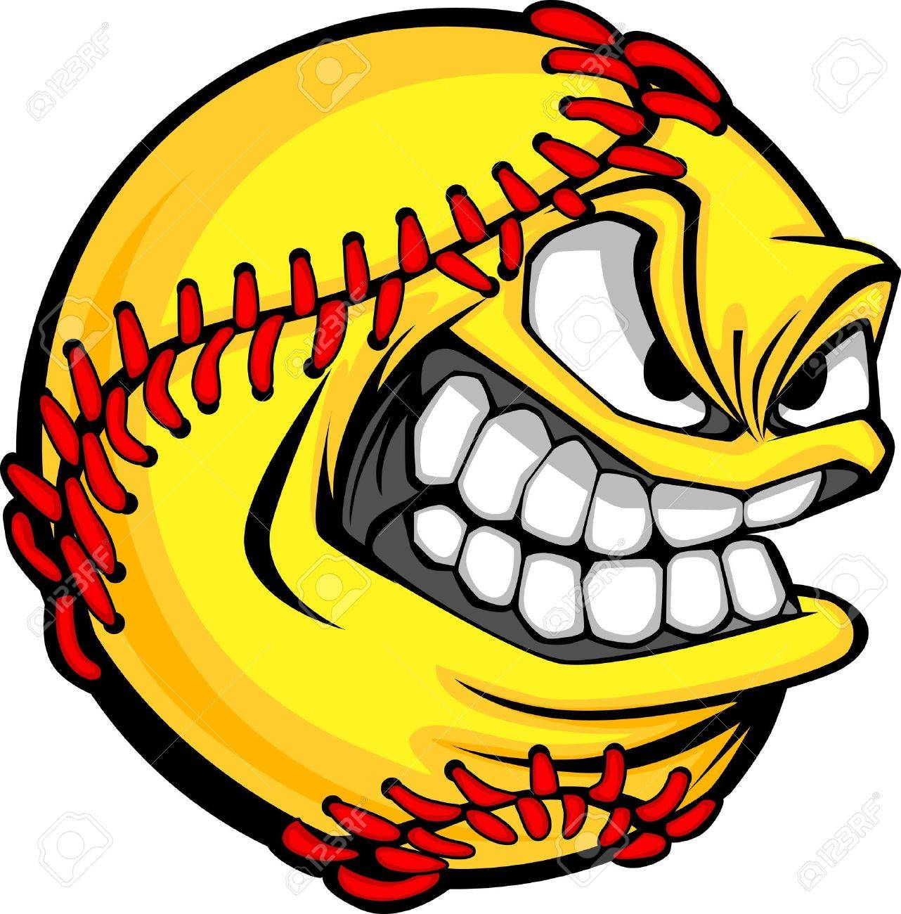 Cartoon Fastpitch Softball with Mean Face Stock Vector - 13092076