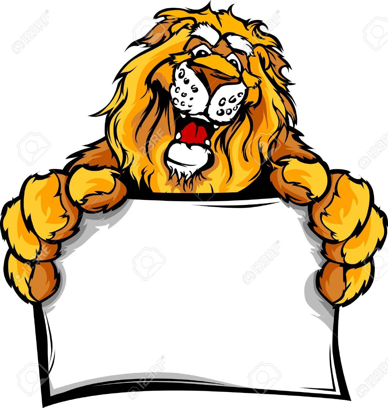 Lion Head Smiling Mascot Holding Sign Vector Illustration Stock Vector - 13208850