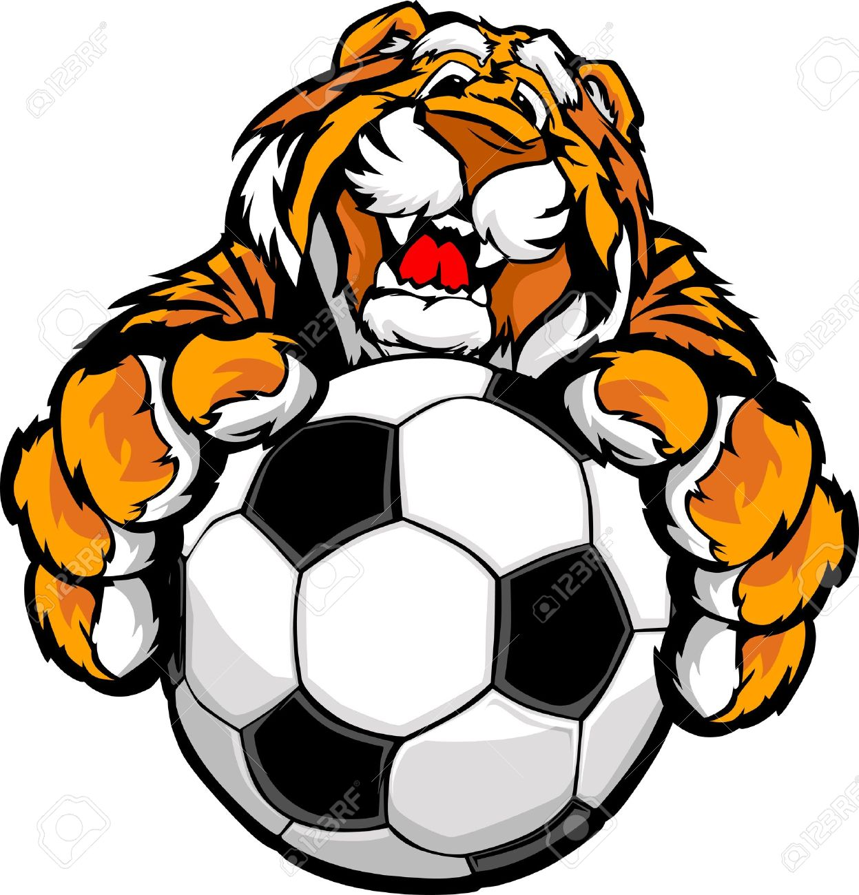 Graphic Mascot Vector Image of a Friendly Tiger with Paws on a Soccer Ball Stock Vector - 13326033