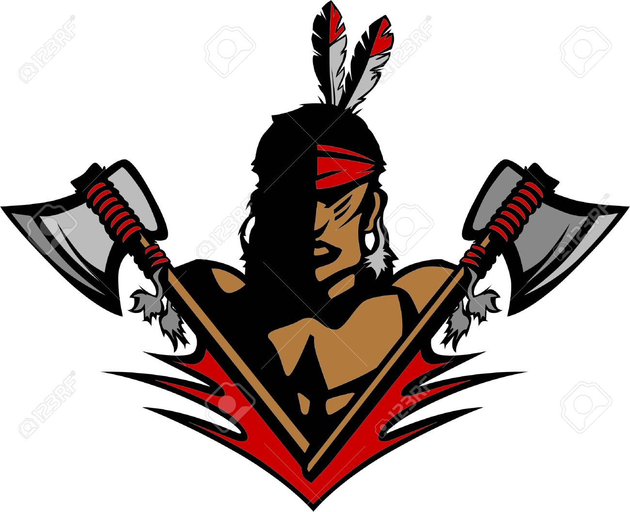 Graphic Native American Indian Brave Mascot with tomahawks and Feathers Stock Vector - 14567563
