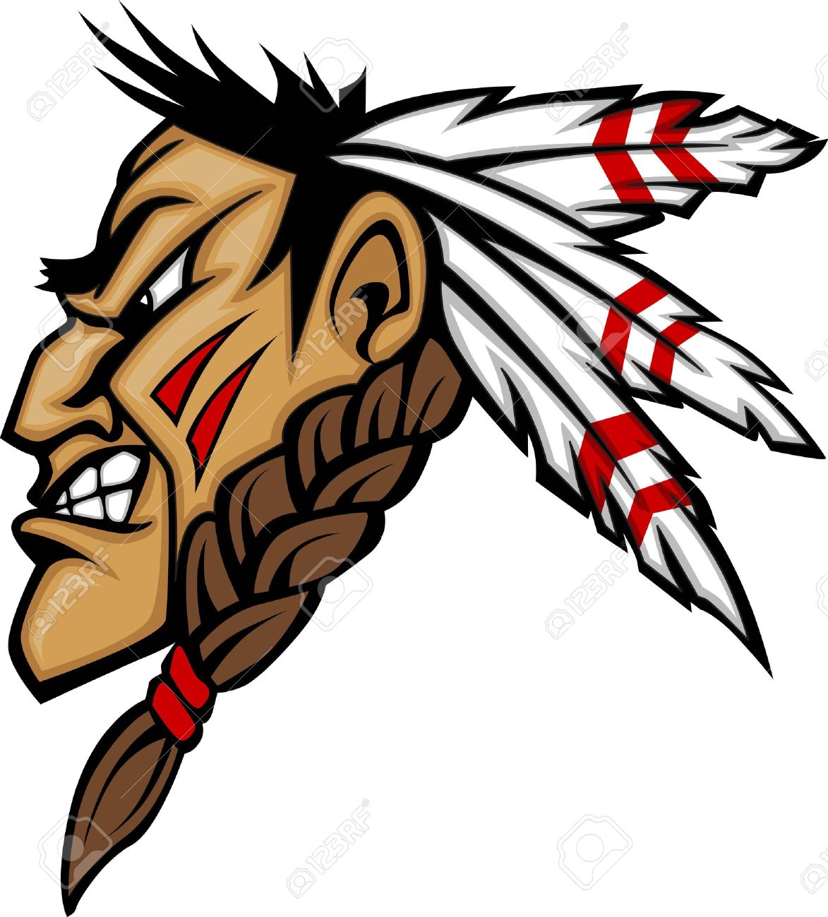 Cartoon Native American Indian Brave Mascot With Feathers And