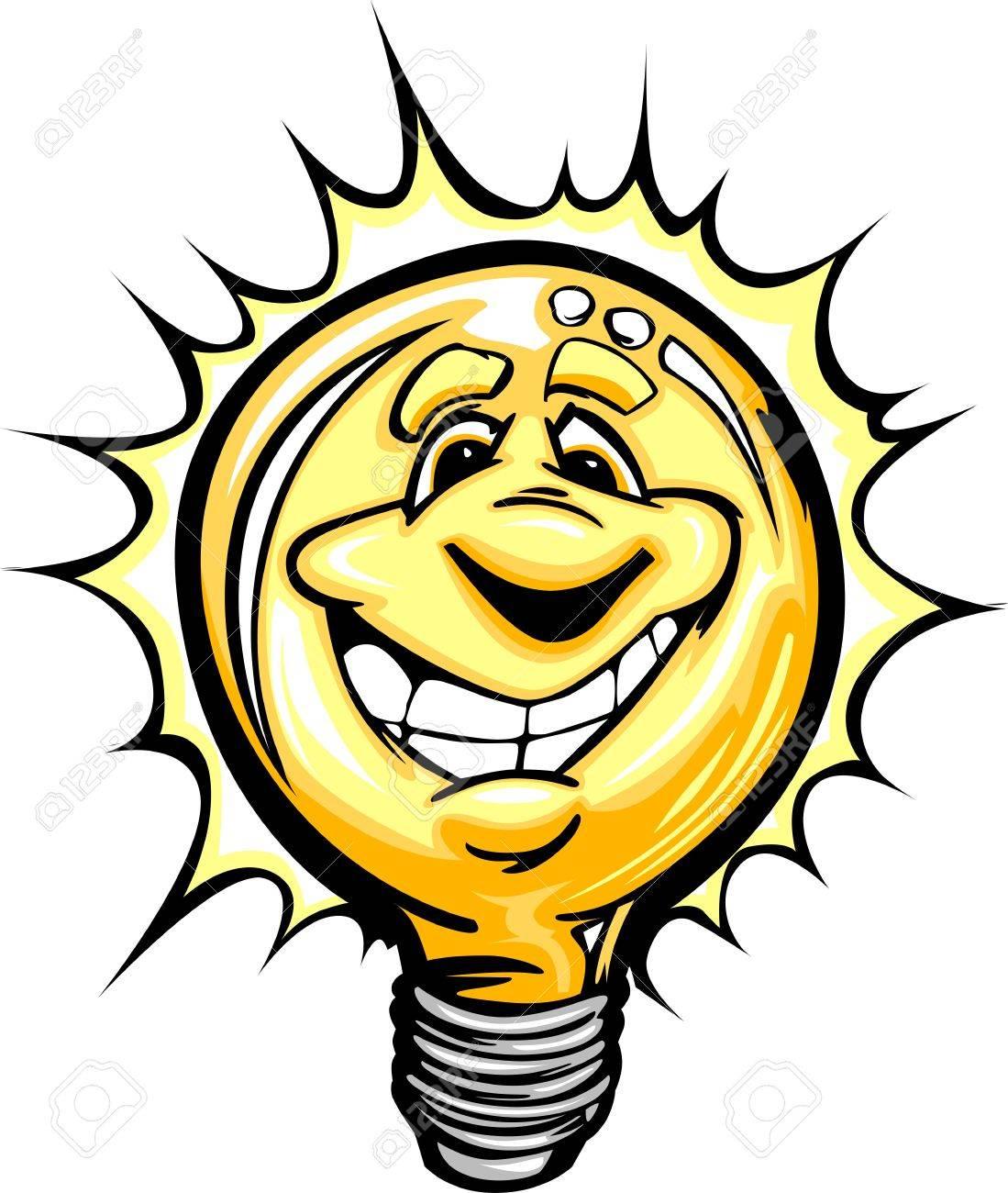 Cartoon Light Bulb with Smiling Face as though having a good idea or energy savings Stock Vector - 14592013