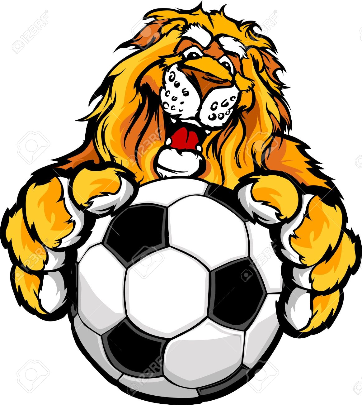 14592022 graphic mascot image of a friendly lion with paws on a soccer ball