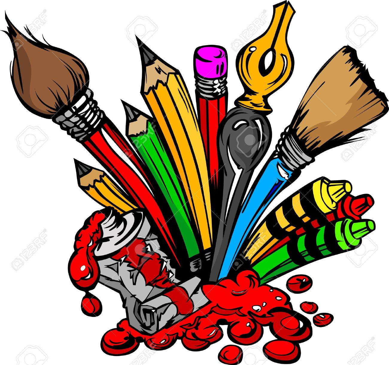 and crayons cartoon image art and back to school supplies paint brushes pencils oil paint pens - Cartoon Pictures Of Crayons