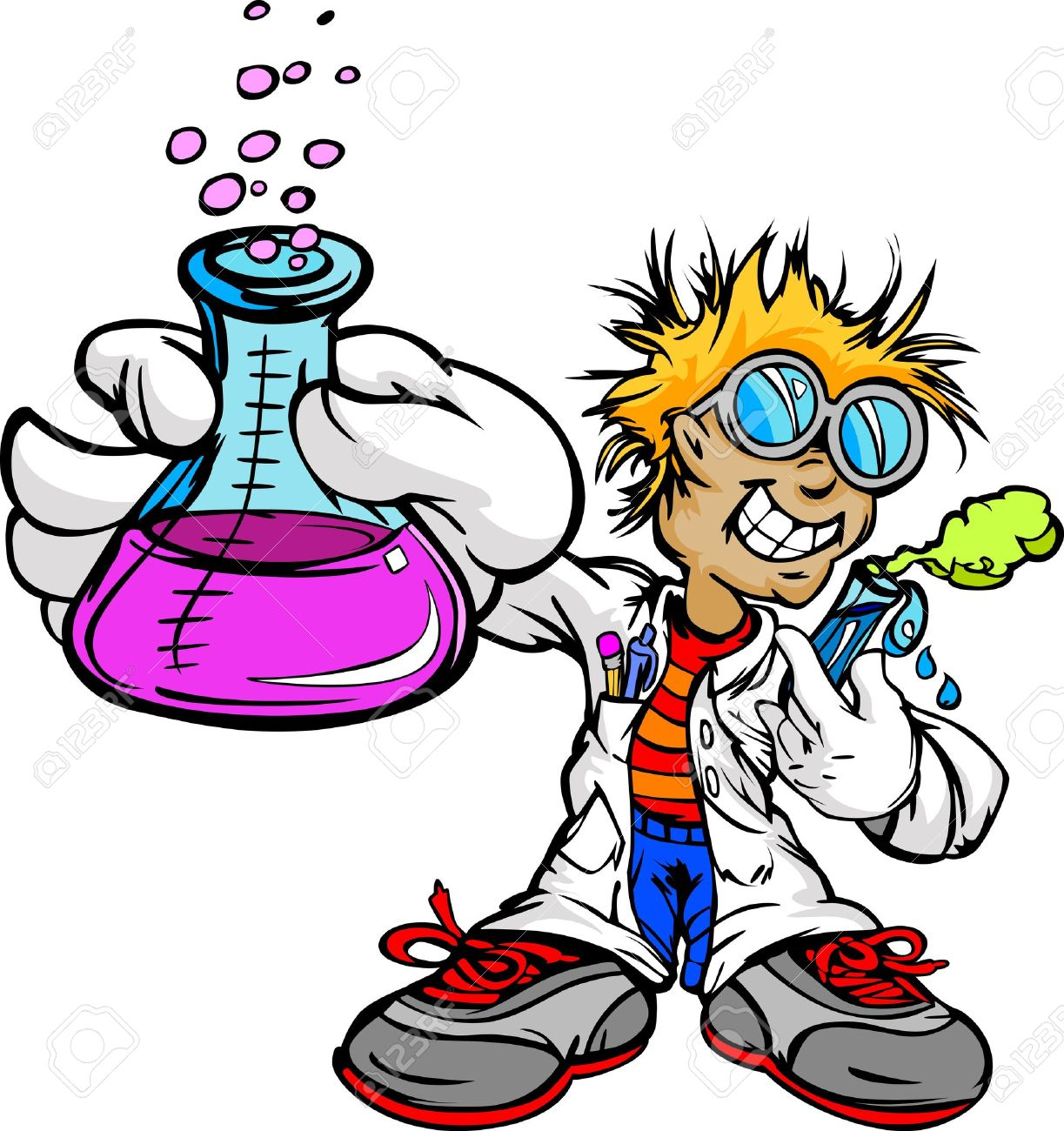 Science Inventor Boy Cartoon Student With Lab Coat And Scientific ...