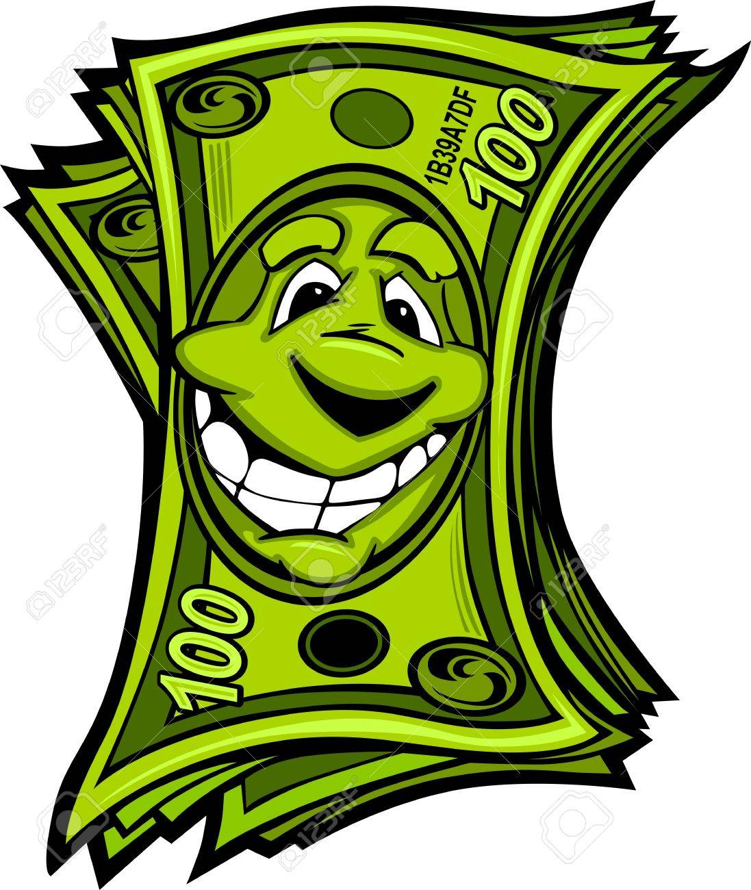 Cartoon Money Hundred Dollar Bills With Smiling Face Cartoon Image Stock Vector 14842302