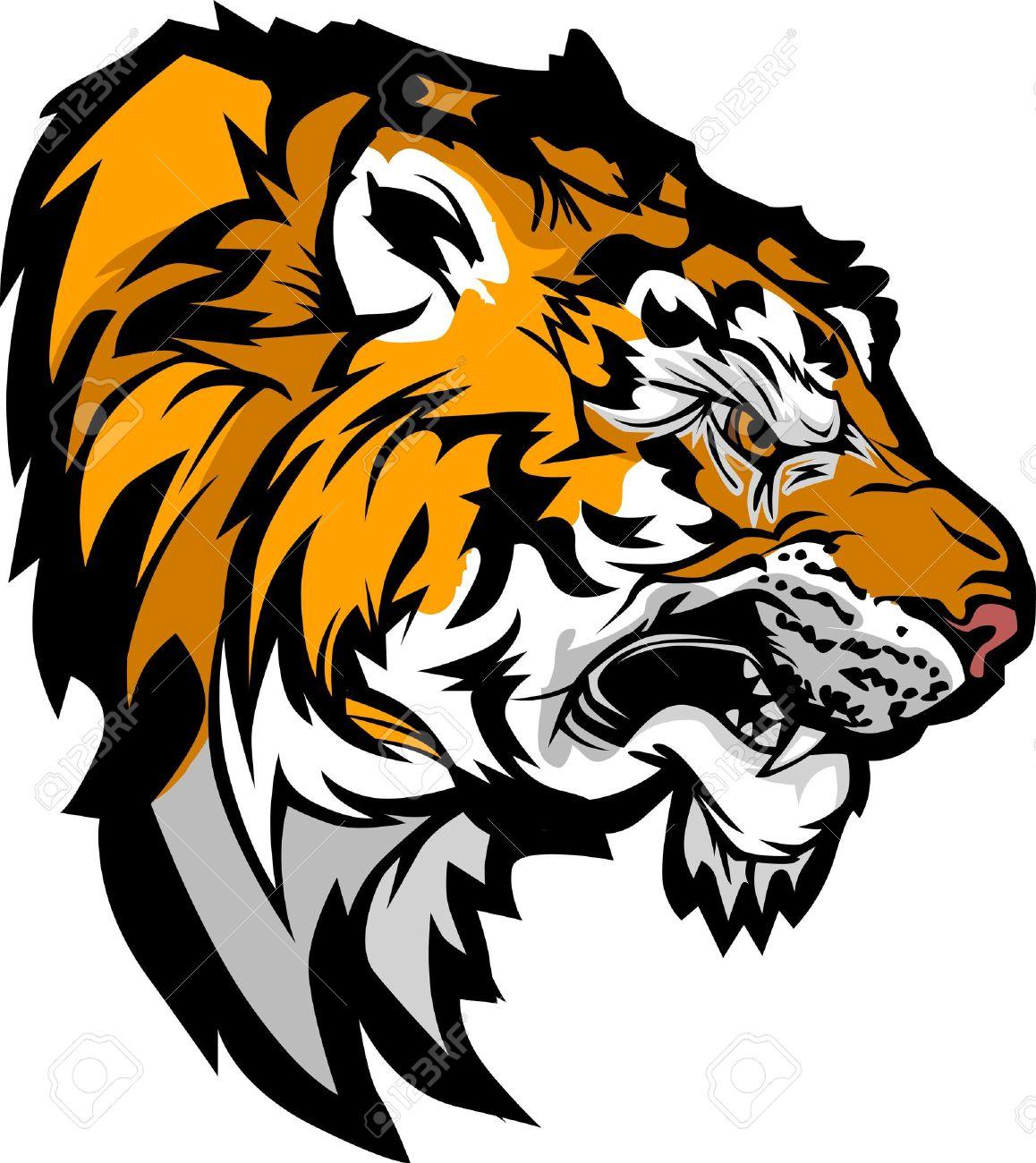 Super Graphique Image Profil Mascotte D'une Tête De Tigre Snarling Clip  ZM13