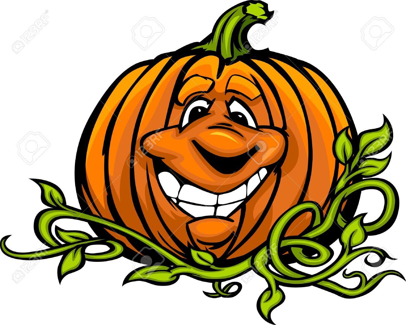 cartoon image of a happy halloween pumpkin jack o lantern head