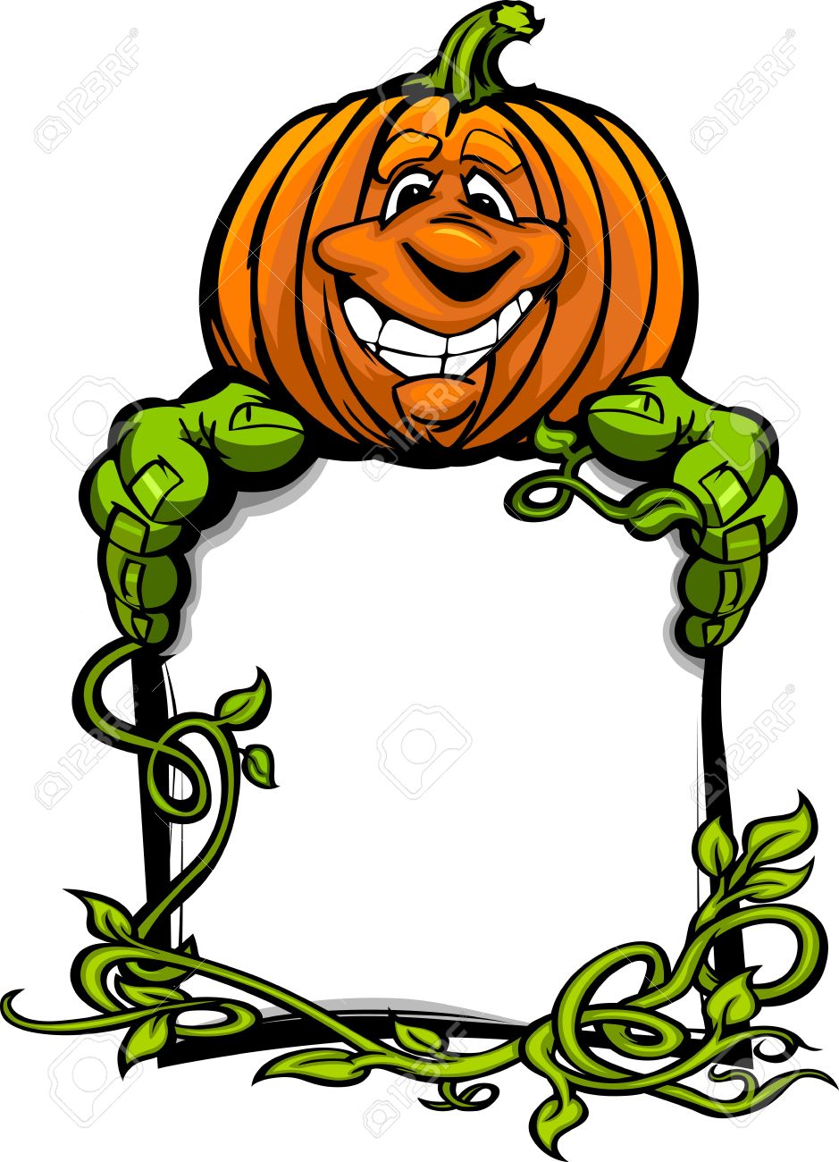 cartoon image of a happy halloween pumpkin jack o lantern holding a sign with vines stock - Happy Halloween Cartoon Pics