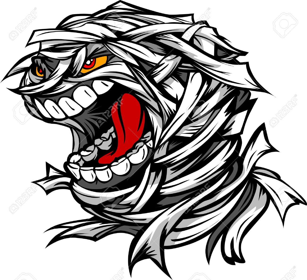 Cartoon Image of a Scary Screaming Halloween Monster Mummy Head Stock Vector - 15142964