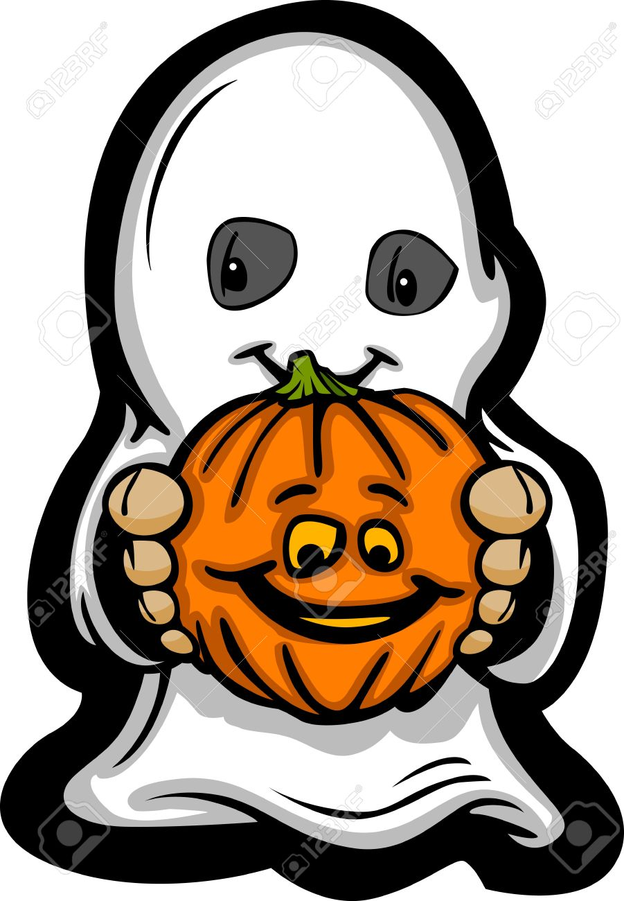 cartoon image of a happy halloween ghost with smiling jack o lantern stock vector - Happy Halloween Cartoon Pics
