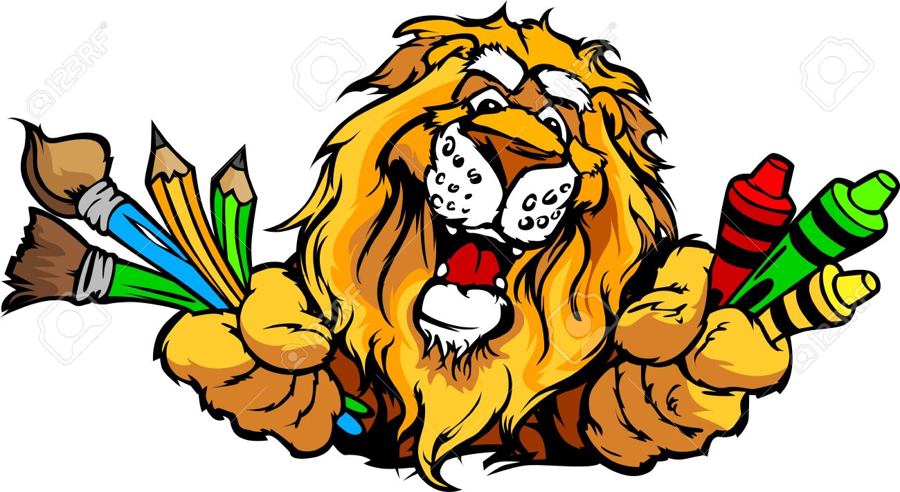 kindergarten school lion with crayons and paint brushes and