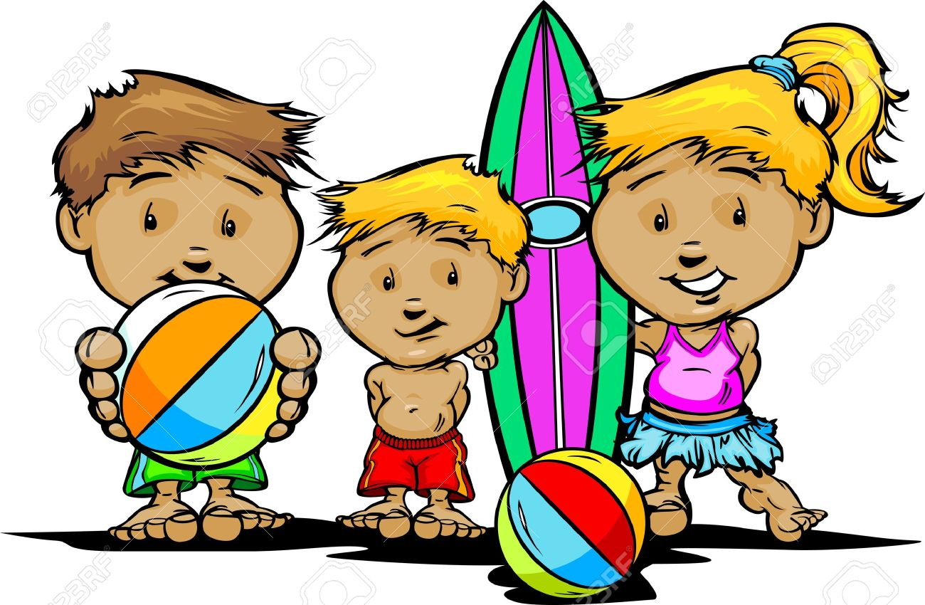 Cartoon Children with Swimsuits and Pool or Beach Toys  Illustration Stock Vector - 15750050