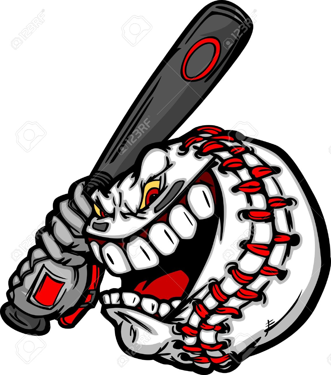 Cartoon Baseball Ball Face Holding Baseball Bat Illustration ...