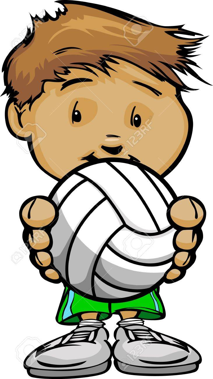 Cartoon  Illustration of a Cute Kid Volleyball Player with Hands holding Ball Stock Vector - 16050136
