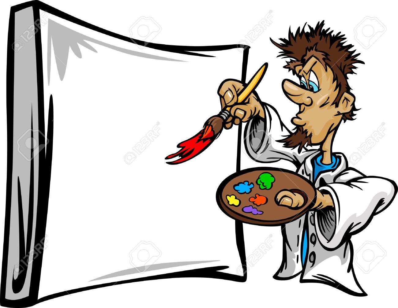 Cartoon Vector Image Of A Creative Artist Painter Holding A Paint