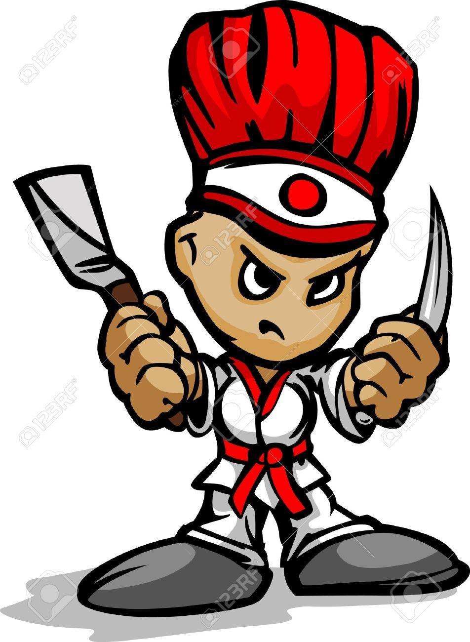 hibachi grill chef with determined face and cooking utinsils