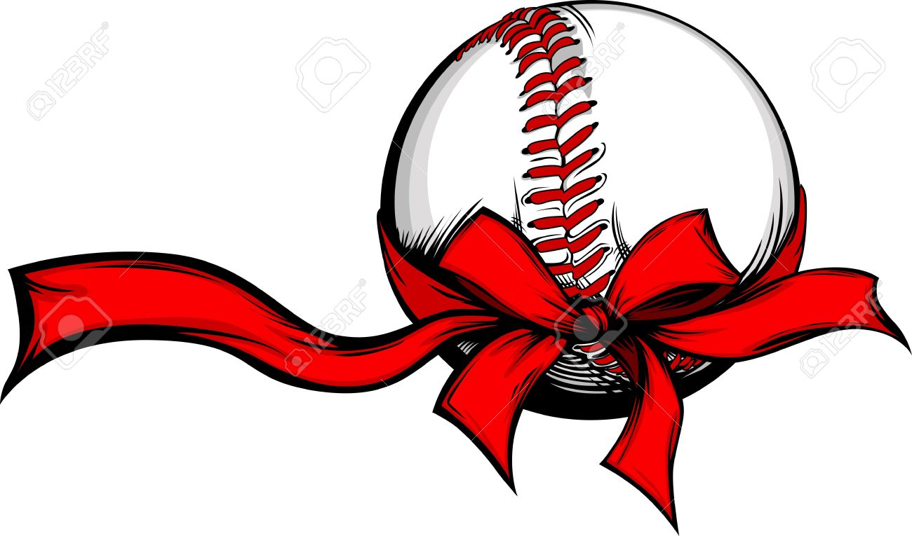 Baseball Wrapped With Red Christmas Ribbon For Winter Holidays ...