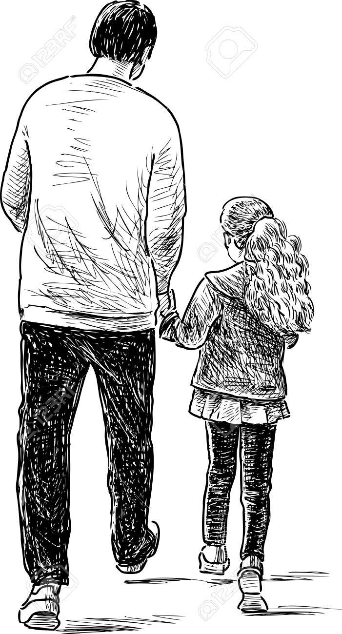 Father and daughter on a stroll stock vector 84483270