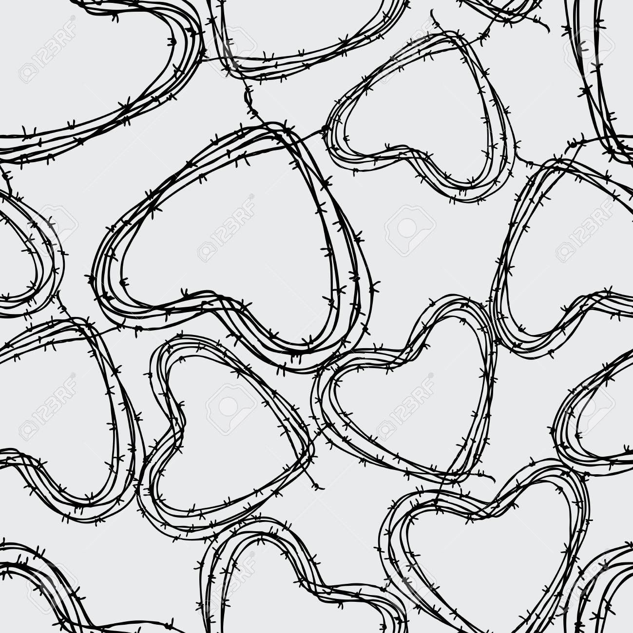 Pattern Of The Barbed Wire In The Hearts Shape Royalty Free Cliparts ...