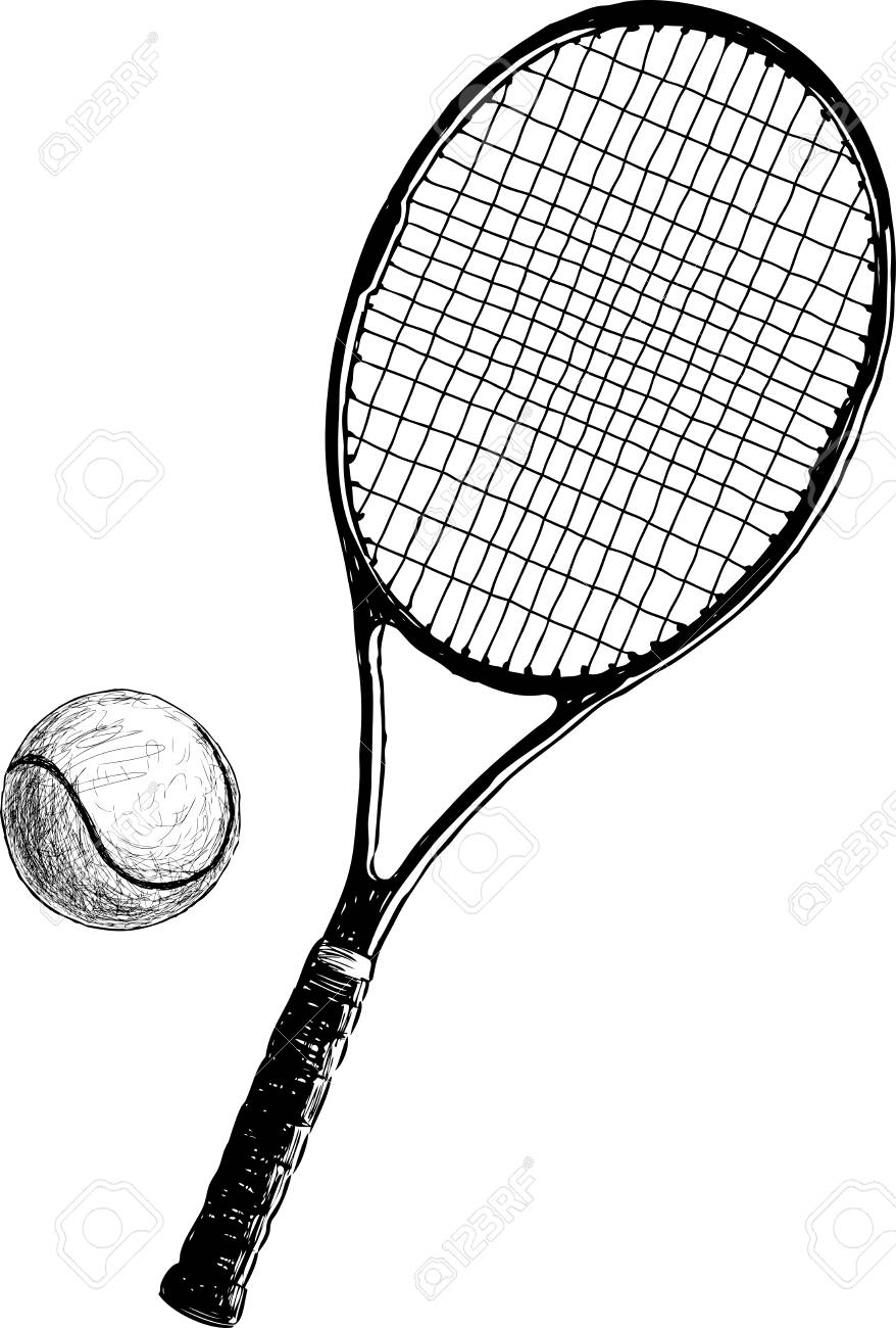 Tennis Racket With A Ball Vector Drawing Royalty Free Cliparts Vectors And Stock Illustration Image 89121191