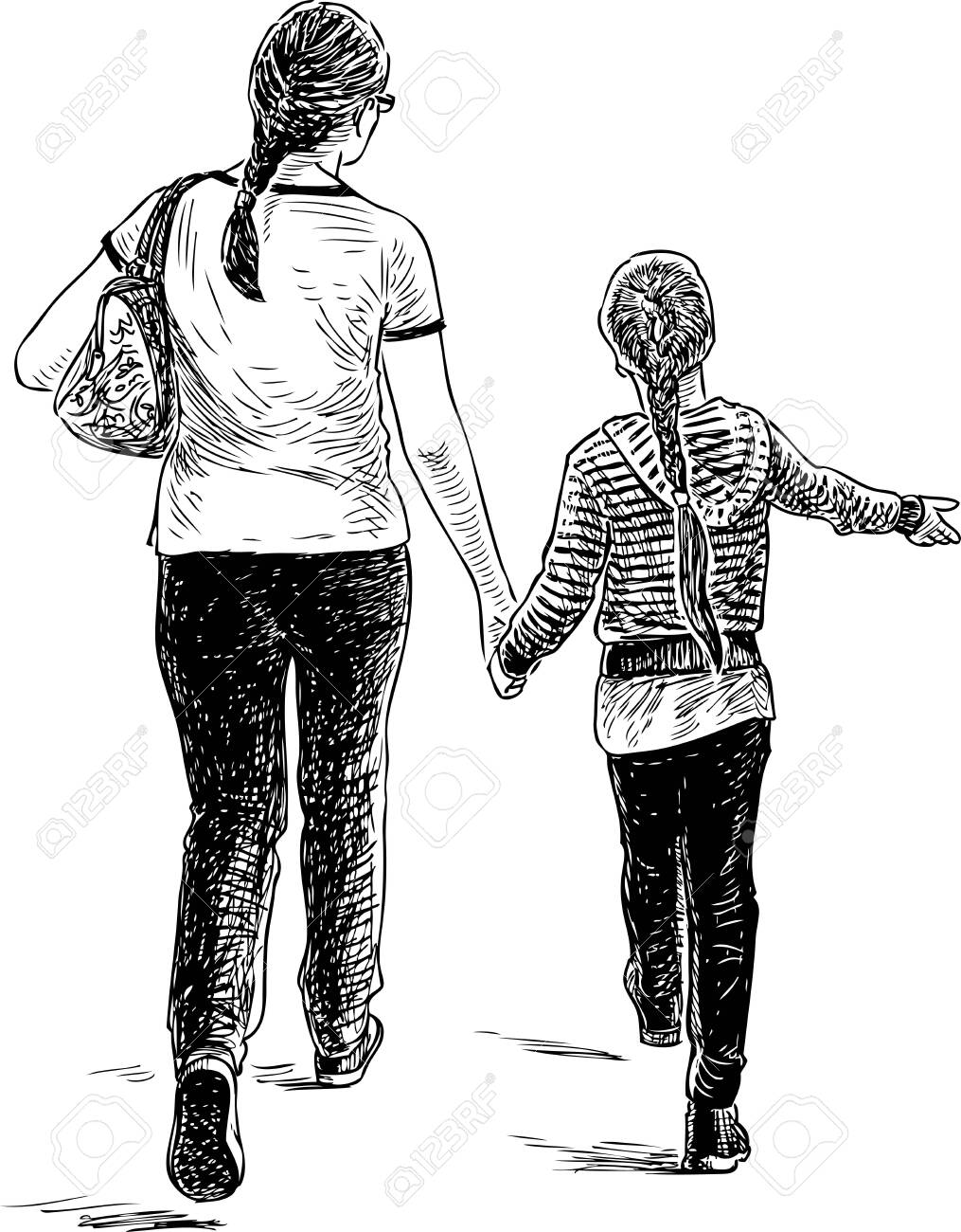 A mother with her daughter going on a stroll - 122316133