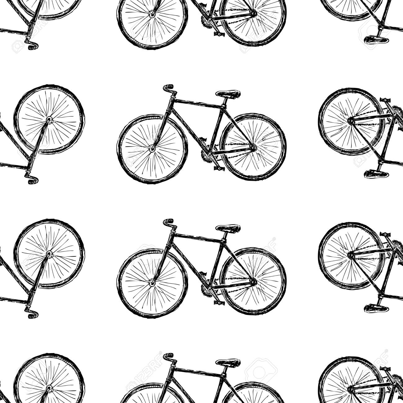 Seamless pattern of sketches city bicycle for active lifestyle - 137633394