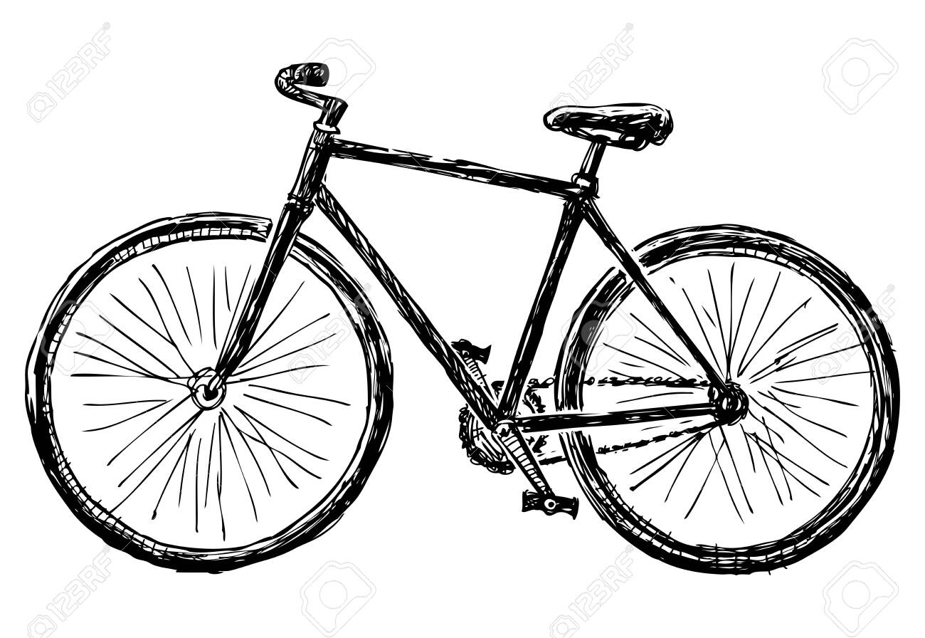 Freehand drawing of bicycle for active walks - 153316568