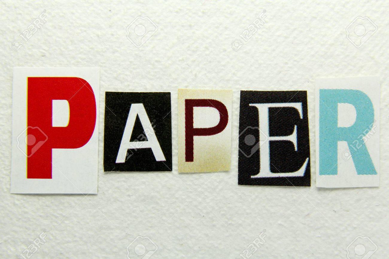 Paper Word Cut From Newspaper On Handmade Paper Background Stock ...