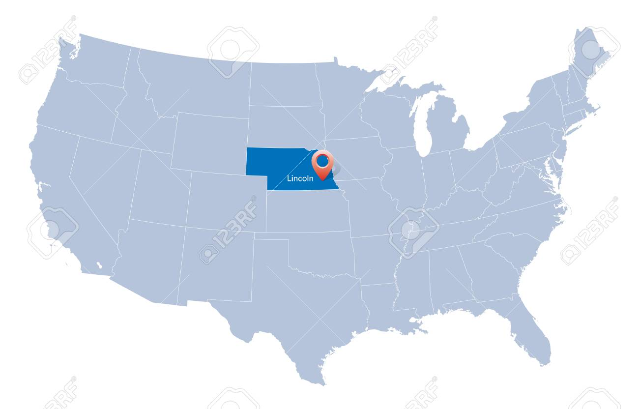 Usa Map With The Indication Of State Of Nebraska And Lincoln Royalty
