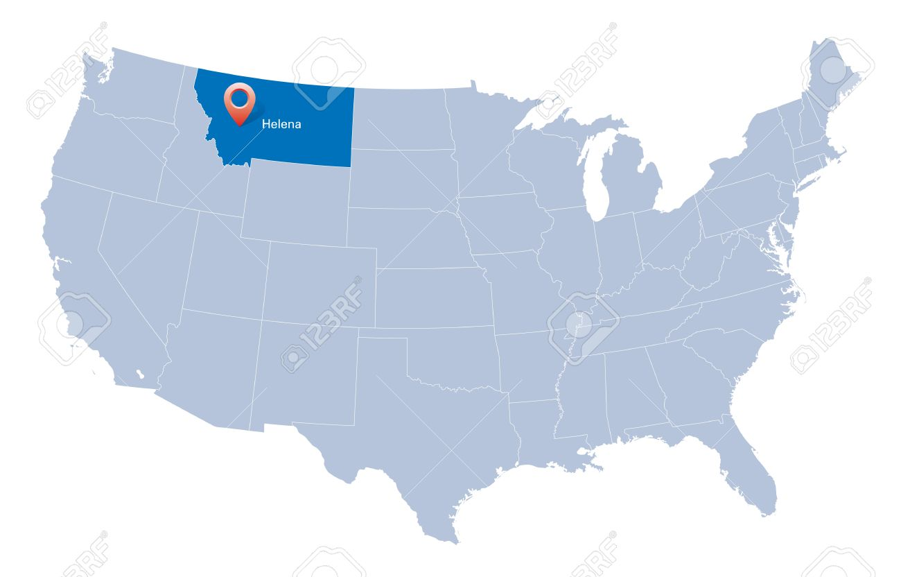 USA Map With The Indication Of State Of Montana And Helena Town - Montana state usa map