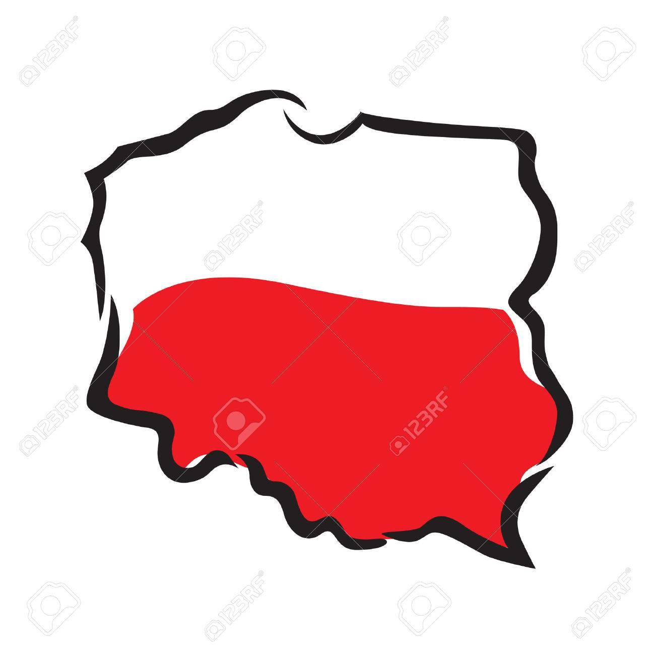 abstrait carte et le drapeau de la Pologne Banque d'images - 24797627
