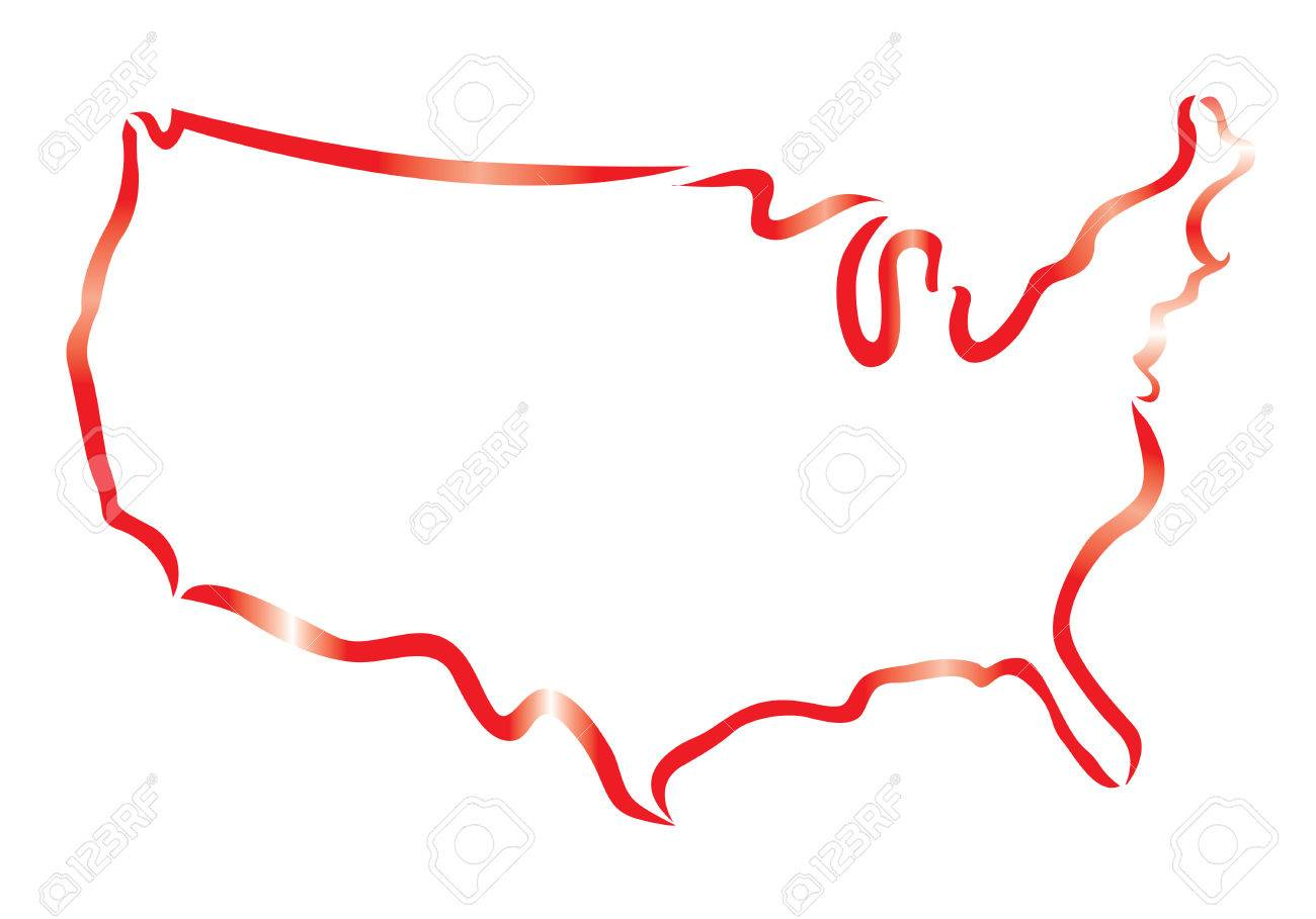 Red Outline Of USA Map Royalty Free Cliparts, Vectors, And Stock ...