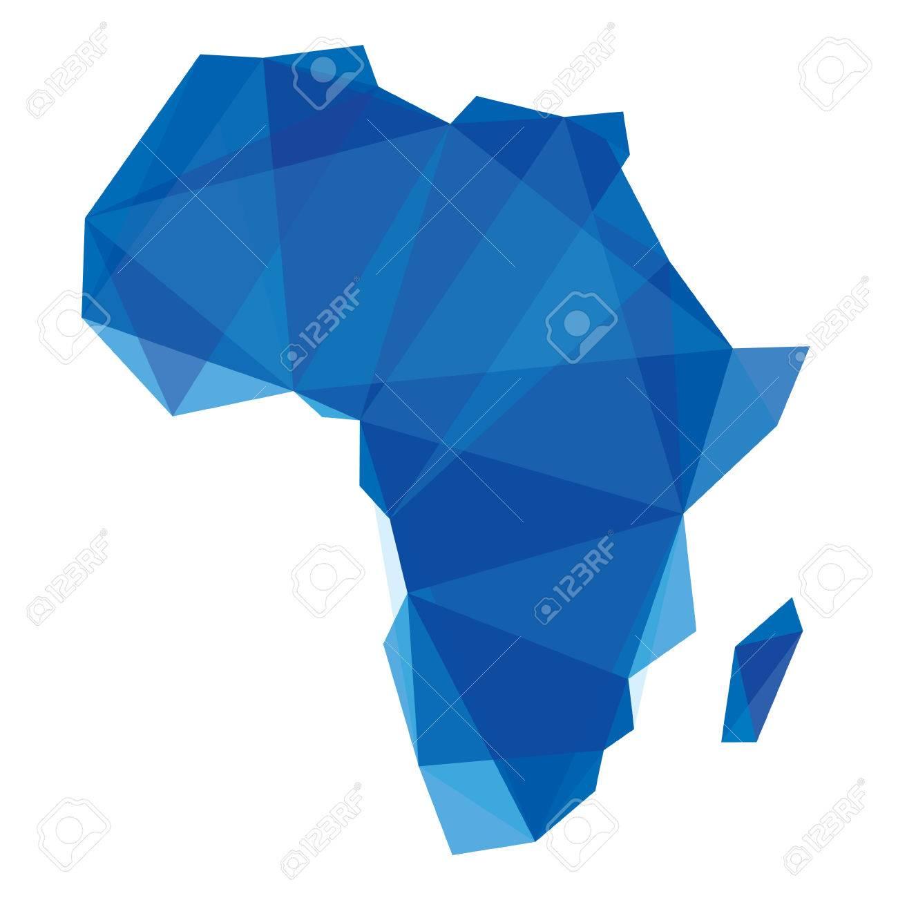 carte bleue Afrique dans le style origami Banque d'images - 24832514