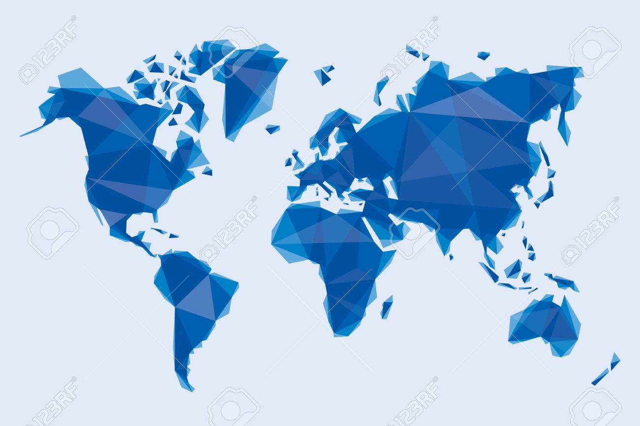 carte bleue du monde dans le style de l'origami Banque d'images - 24870523
