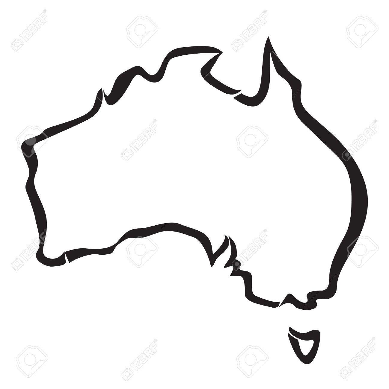 contour noir de l'Australie carte Banque d'images - 24870349