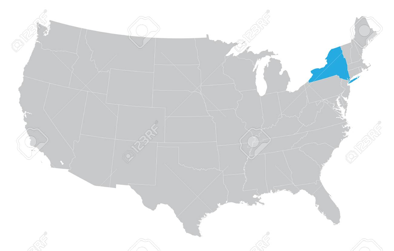 New York On Usa Map.Usa Map With The Indication Of The State Of New York Royalty Free
