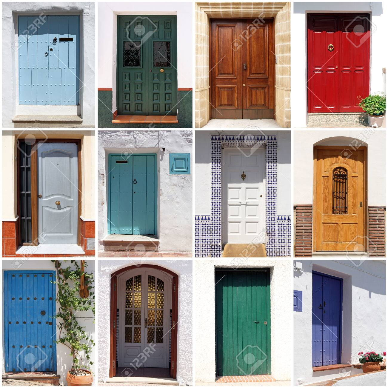Collage Of Colorful Spanish Front Doors Stock Photo Picture And