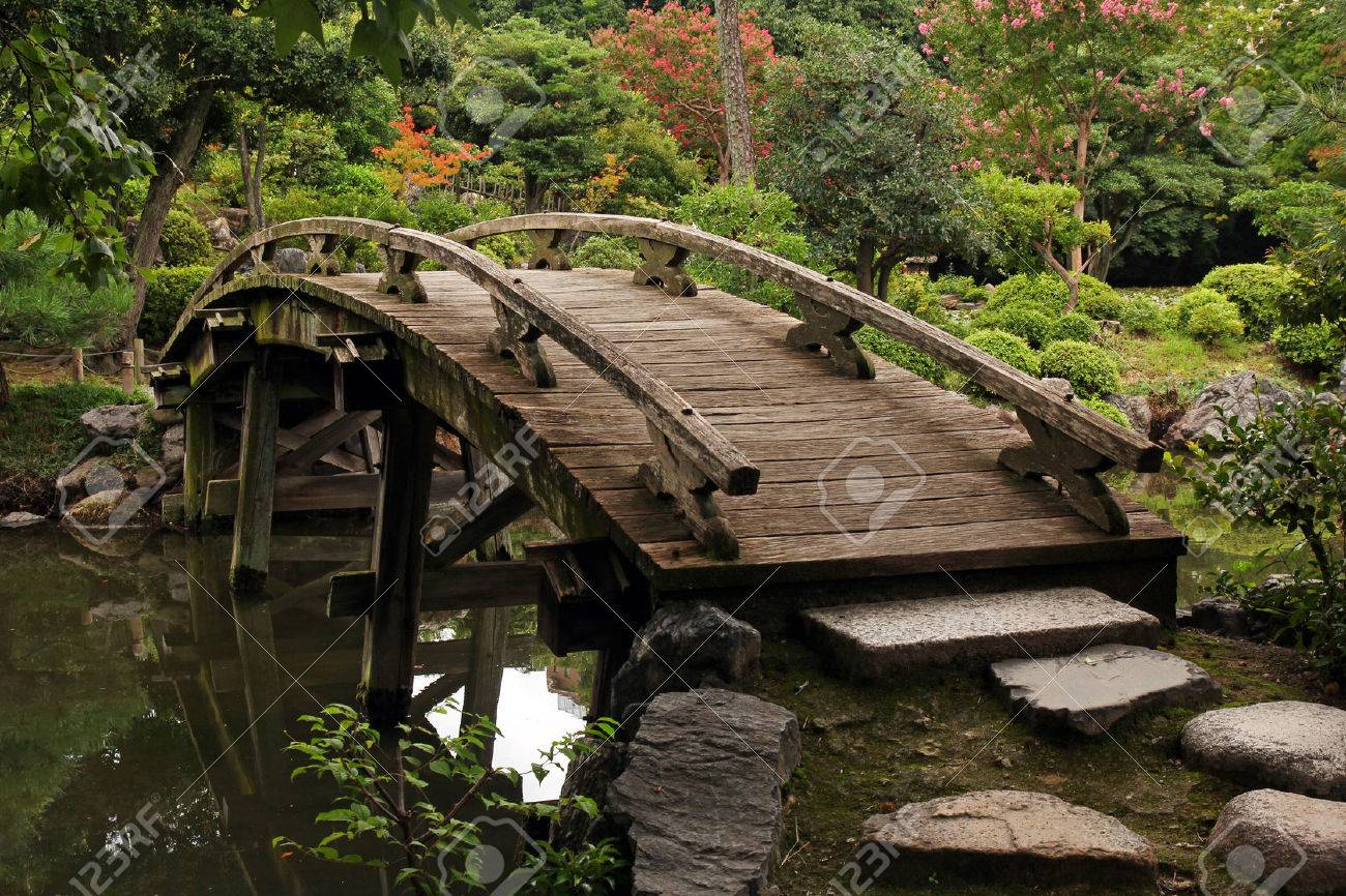 wooden footbridge in japanese garden stock photo picture and