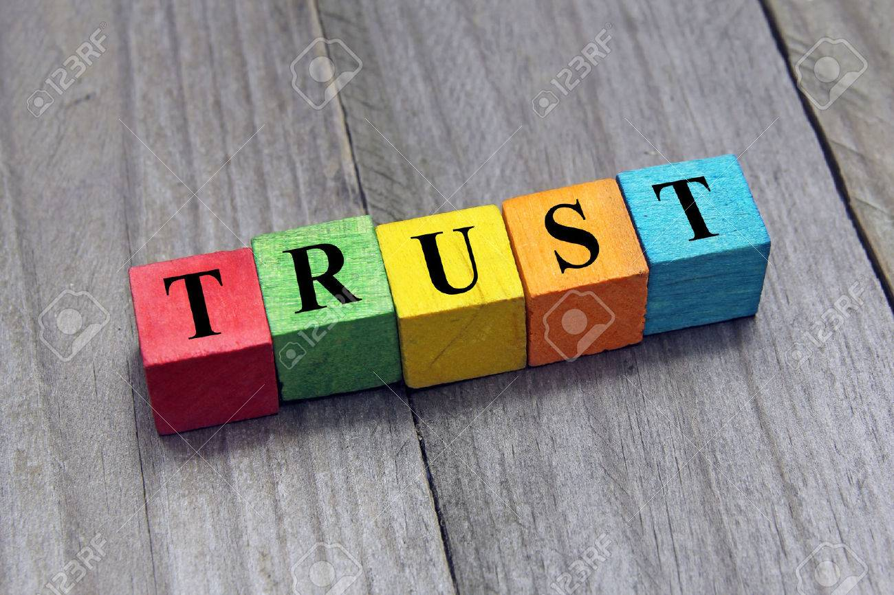 concept of trust word on wooden cubes - 34283887